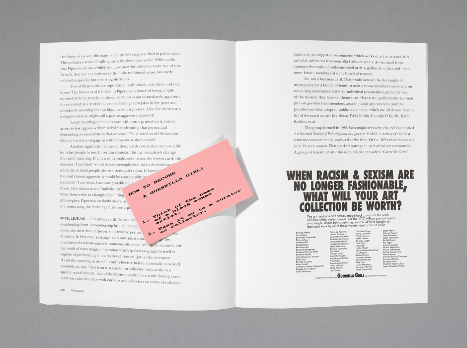 """Oracles – Artists' Calling Cards"" (Pierre Leguillon with Barbara Fédier eds., and students from HEAD–Genève; graphic design Clovis Duran); Edition Patrick Frey, The Museum of Mistakes, HEAD–Genève, 2017."
